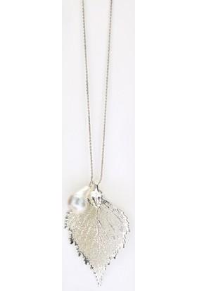 Sufi Design, Has Gümüş Kaplama Orta Boy Gerçek Yaprak, Gümüş İncili Kolye Hbr3284