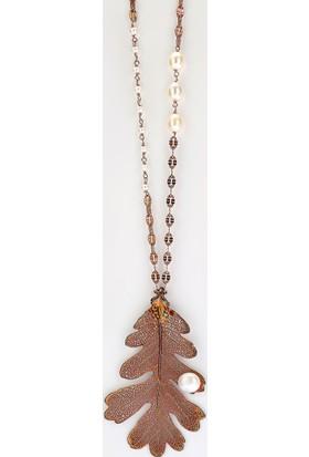 Sufi Design, Rose Kaplama Büyük Boy Gerçek Yaprak, Gümüş İncili Kolye Hbr3276