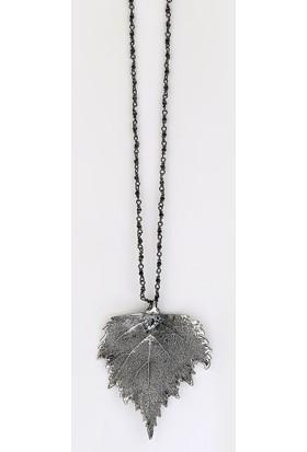 Sufi Design, Büyük Boy Gerçek Yaprak Has Gümüş Kaplama, Spinal Taşlı Gümüş El Örgü Zincirli