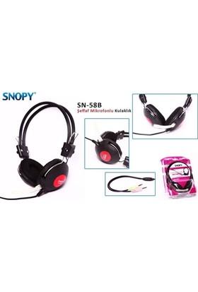 Snopy Sn-58B Siyah Kırmızı Microfonlu Kulaklık