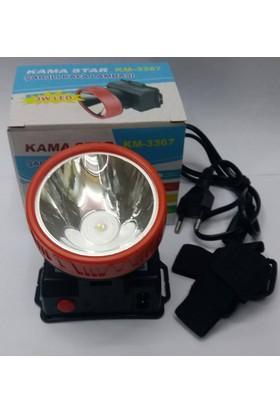Kama Star Km-3367 3W Led Şarjlı Kafa Lambası