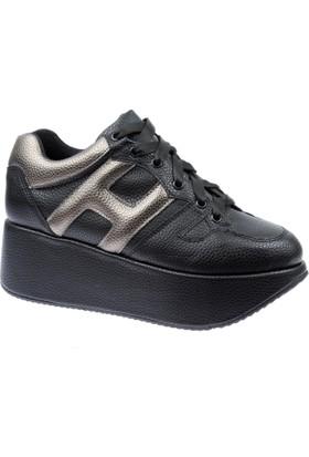 Shalin Kadın Ayakkabı Lfm 457 Siyah Dolgu Taban Kadın Ayakkabı