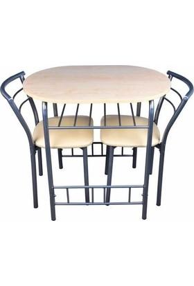 Kristal Masa Mutfak Masası(3 Parça) Akçaağaç