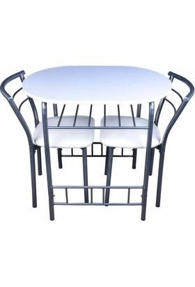 Kristal Masa Mutfak Masası(3 Parça) Beyaz