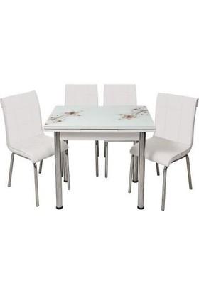 Kristal Masa Yandan Açılır Beyaz Masa - Kahve Sümbül Desen
