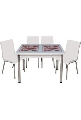 Kristal Masa Yandan Açılır Beyaz Masa - Kırmızı Çiçek Desen 4 Kişilik