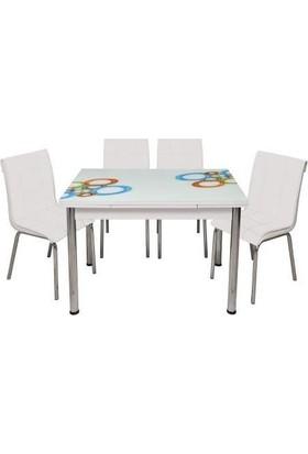 Kristal Masa Yandan Açılır Beyaz Masa - Olimpiyat Desen 60X904 Kişilik
