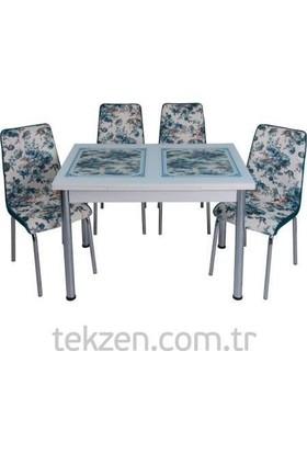 Kristal Masa Yandan Açılır Beyaz Masa - Turkuaz Güllü Desen 6 Kişilik