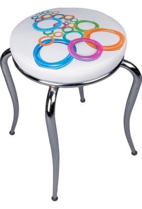 Kristal Masa Yandan Açılır Beyaz Masa 2 Sandalye Ve Tabure Olimpiyat