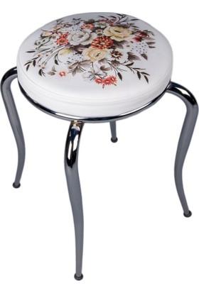 Kristal Masa Yandan Açılır Beyaz Masa 4 Tabure - Beyaz Çiçek Sepeti