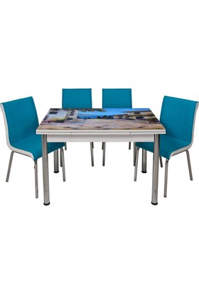 Kristal Masa Yandan Açılır Beyaz Masa Ve 4 Mavi Sandalye - Yağlı Boya Manzara Desen