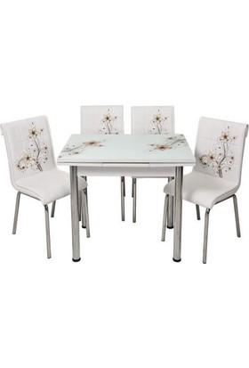 Kristal Masa Yandan Açılır Beyaz Masa Ve 4 Sandalye - Kahve Sümbül Desen