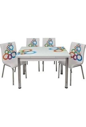 Kristal Masa Yandan Açılır Beyaz Masa Ve 4 Sandalye - Olimpiyat Desen