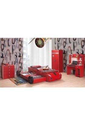 Mobika Arabalı Yatak - 3D Hızlı Yavrulu Karyola İki Kapılı Gardırop Genç Odası - Kırmızı