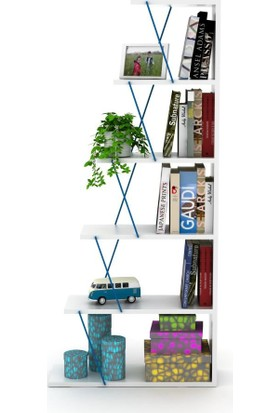 Rafevi Tars Mini Kitaplık Beyaz-Mavi