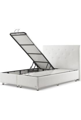 Sanatde Lidya Beyaz Demonte Çift Kişilik Baza + Başlık Set 150X200 Cm