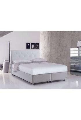 Sanatde Lidya Beyaz Demonte Çift Kişilik Baza + Yatak + Başlık Set 150X200 Cm