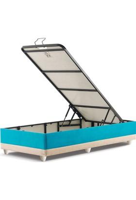 Sanatde Lifos Mavi Demonte Tek Kişilik Baza + Başlık Set 90X190 Cm