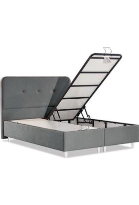 Sanatde Likya Gri Demonte Çift Kişilik Baza + Başlık Set 160X200 Cm