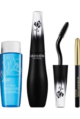 Lancome Grandiose Extreme Black Mascara + Crayon Khol Black Mini + Bi Facil Eye Makeup Remover 30 Ml