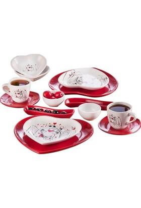Keramika 2 Kişilik 14 Parça Keyfi Aşk Kalp Kahvaltı Takımı