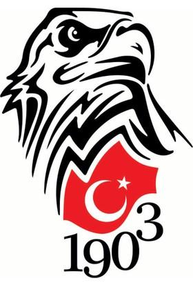 Türk Bayraklı Beşiktaş Kartal Oto Sticker - 10x15 cm