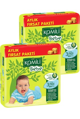 Komili Bebe Bebek Bezi Fırsat Paketi Midi 3 Beden 208 Adet