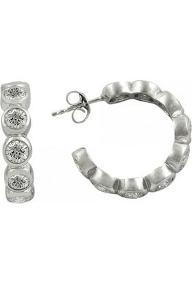Tevuli 925 Ayar Gümüş 4Mm Zirkon Taşlı Büyük Halka Küpe E14637