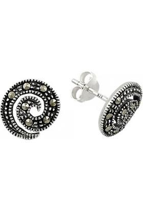 Tevuli 925 Ayar Gümüş Markazit Taşlı Spiral Küpe E81751