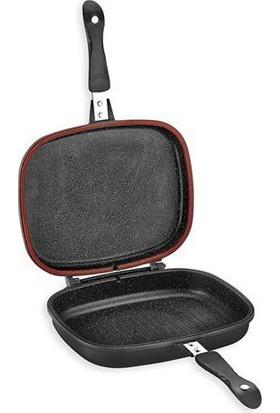 Schafer Diva Granit Grill Pan Çift Taraflı Tava Siyah 32 cm
