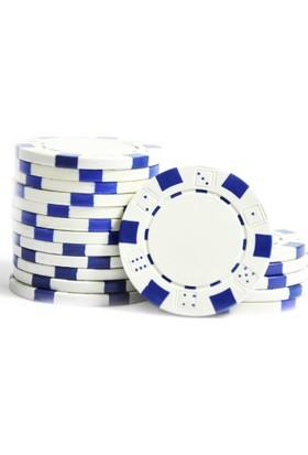 Pusula Oyun Beyaz Renk 100 Adet Poker Çipi Fişi 11,5 Gr
