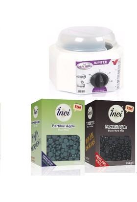İnci Bir Kutu Siyah + Bir Kutu Azulen İnci Ağda 500 Gr - Soyulabilir İnci Ağda 500 Gr + Ağda Isıtma Makinesi 800Ml