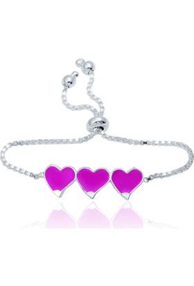 Gumush Gümüş Üç Kalp Mineli Çocuk Bileklik