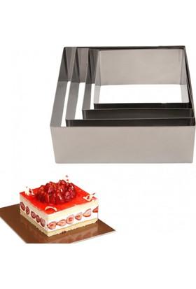 Narkalıp Kare Çember Pasta Kek Kalıbı 4'lü Set Derinlik 5Cm