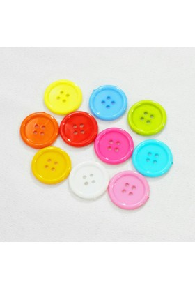 Renkli Akrilik Yuvarlak Düğme - 10 Adet
