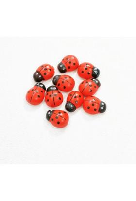Yapışkanlı Kırmızı Uğur Böceği - 15 mm x 10 mm - 10 Adet