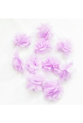 Şifon Çiçek - Lila - 10'lu