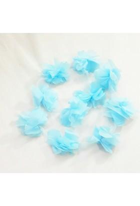 Şifon Çiçek - Mavi - 10'lu