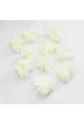 Şifon Çiçek - Krem - 10'lu