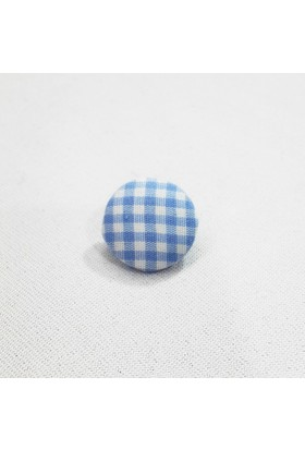 Kareli Kumaş Düğme - Açık Mavi - 6 Adet