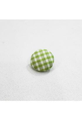 Kareli Kumaş Düğme - Fıstık - 6 Adet