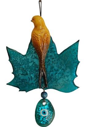 Fidex Home Dekoratif Yaprak Üstüne Kuşlu Nazarlık Turkuaz