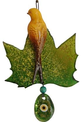 Fidex Home Dekoratif Yaprak Üstüne Kuşlu Nazarlık Yeşil