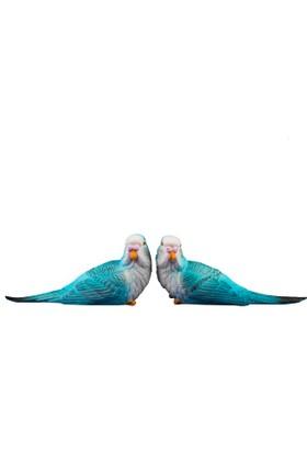Fidex Home Dekoratif 2Li Muhabbet Kuşları Mavi