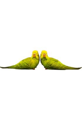 Fidex Home Dekoratif 2Li Muhabbet Kuşları Yeşil