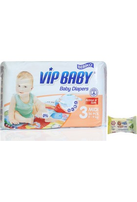 Bebiko Vip Baby Bebek Bezi Active & Soft Midi 3 Beden 36 Adet
