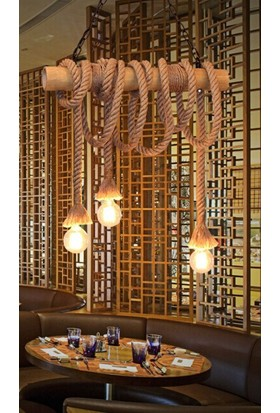 Dekorumbu Bambu Avize Retro Model Halat Aydınlatma Otantik Işık