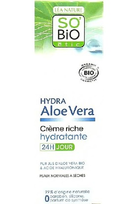 So'Bio Etic Organik Aloe Vera İçerikli Yoğun Nemlendirici Gündüz Kremi 50 ml.