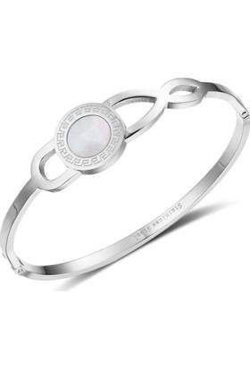 Angemiel Trendy Paslanmaz Çelik Gümüş Renk Bayan Bileklik