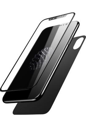 Baseus Apple iPhone X Ön Cam Ekran Koruyucu Arka Film Temperli Cam Ekran Koruyucu Cam Ekran Koruyucu Siyah
